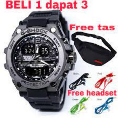 Foto Produk jam tangan pria pala besi produk the best seller jam tangan sport - Hitam+Tas+Head dari smilewatch2