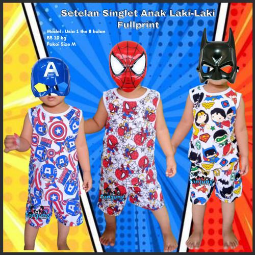 Foto Produk Baju Setelan Stelan Kaos Singlet Anak Laki Laki Cowok 1 2 3 4 Tahun - BATMAN-SINGLET, S dari Tanjung Kids