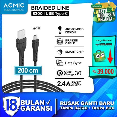 Foto Produk ACMIC B200 B300 Kabel Data Charger Fast Charging 2M / 3M / 2 / 3 meter - 2 meter, USB Type C dari ACMIC Official Store