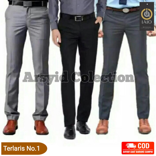 Foto Produk Celana Formal Kantor Kerja Bahan Pria SLIMFIT Hitam Panjang - navy, 27 dari arsyidcolection