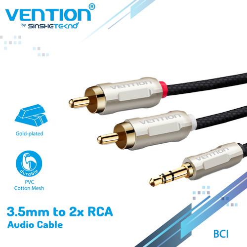 Foto Produk Vention BCI Kabel Audio Aux 3.5 Male To 2 RCA Male Braided Zinc Alloy - BCIBD dari VENTION by SinsheTekno