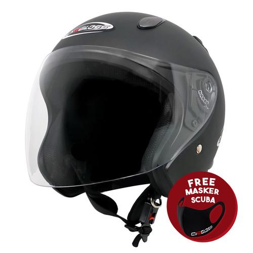 Foto Produk Helm Half Face YCN CR Cargloss Visor Hardcoat - Gun Metal - XL dari Helm Cargloss