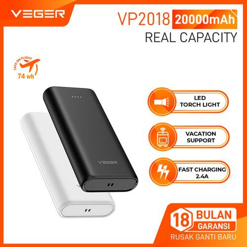 Foto Produk VEGER Powerbank VP-2018 20000mAh 2 Ports USB Output 2.0A Flashlight - Putih dari Veger