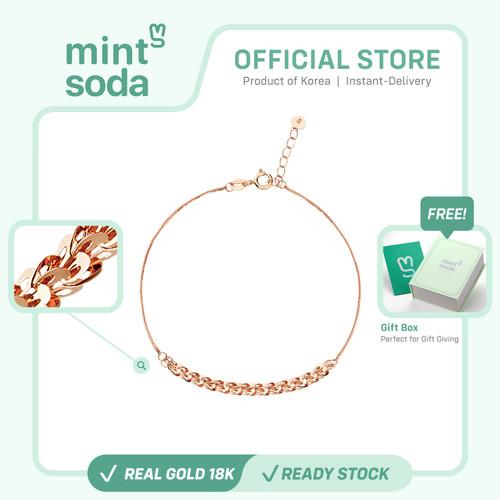 Foto Produk Mint Soda Korea - Gelang Emas 18K / 750 - Half Feather Bracelet - Yellow Gold dari Mint Soda Jewelry