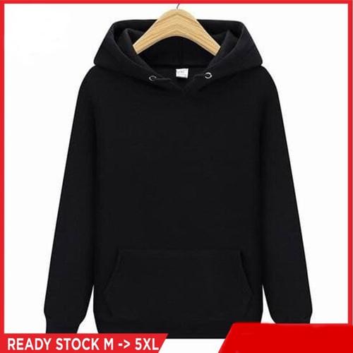 Foto Produk Jaket Hoodie Sweater PolosPria Wanita Premium Distro gramasi 250gsm - Hitam, M dari CV BAMBANG MAS OFFICIAL