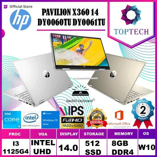 Foto Produk Laptop HP Pavilion X360 14 dy0060TU i3 1125G4 8GB 512ssd W10+OHS 14FHD - GOLD dari Top Tech
