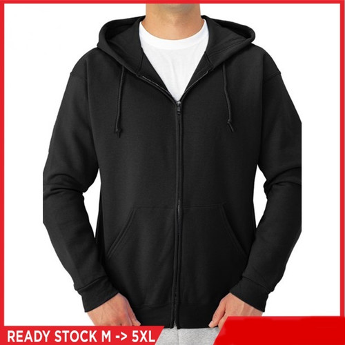 Foto Produk Jaket Zipper Pria Wanita Jumbo S, M, L, XL, XXL, 3XL, 4XL, 5XL Hoodie - Hitam, S/M dari CV BAMBANG MAS OFFICIAL