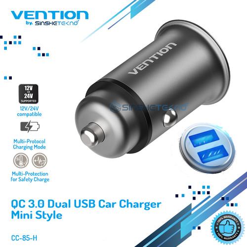Foto Produk Vention Car Charger Fast Quick Charge Samsung Apple Xiaomi Huawei - Dual USB QC3.0 dari VENTION by SinsheTekno