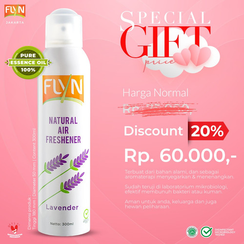 Foto Produk FLYN Natural Air Freshener Aroma Lavender (Disinfectant Spray) 300ml dari RADJA KETJIL