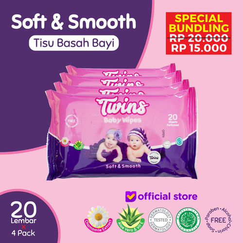 Foto Produk Twins Tissue Basah Bayi Soft & Smooth - 20 Sheets dari Twinsbabywipes