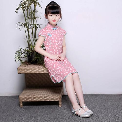 Foto Produk BAJU CHEONGSAM ANAK MURAH QIPAO BUNGA BAJU IMLEK ANAK DRESS QIPAO ANAK - Pink dari MadisonShop