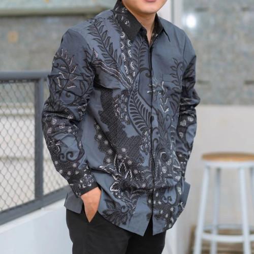 Foto Produk kemeja batik pria lengan panjang batik tulis berlapis furing ADB056 - Abu-abu, M dari Adipatibatik