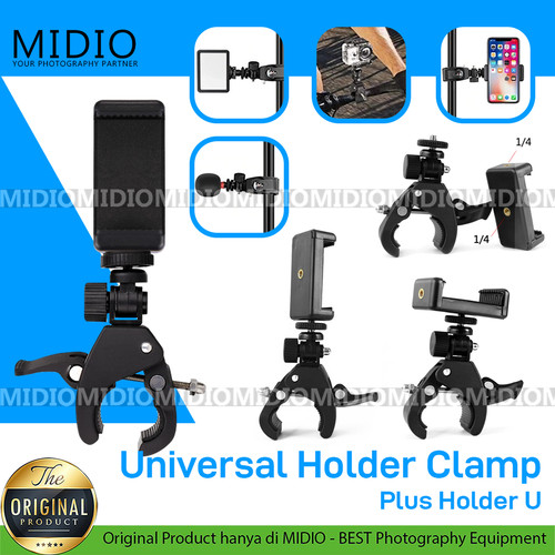 Foto Produk Midio Universal Clamp Dengan Holder Handphone Untuk Tripod Stand Mobil dari Midio