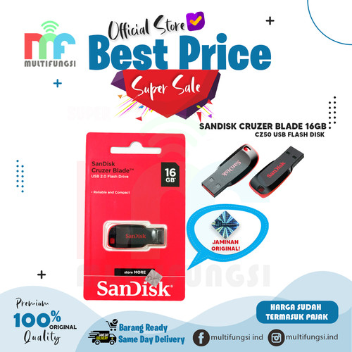 Foto Produk ORIGINAL SANDISK FLASHDISK 16GB CRUZER BLADE CZ50 USB FLASH DISK 16 GB dari Multifungsi Online