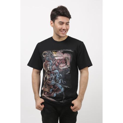Foto Produk baju pria asli distro - kaos hitam bergambar cowo DIK.CRS size M-L dari distro zahira