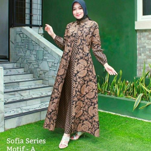 Foto Produk GAMIS BATIK WANITA BAJU MUSLIM LONGDRES BATIK WANITA - motif 1, ld 104cm dari batikita2