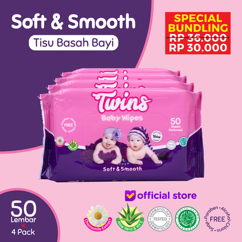 Foto Produk Twins Tissue Basah Bayi Soft & Smooth - 50 Sheets dari Twinsbabywipes