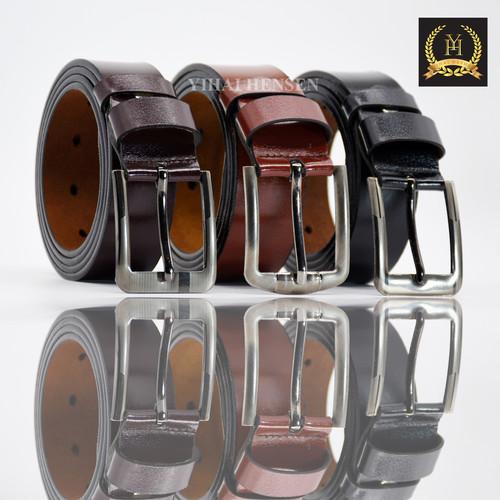 Foto Produk YH004 Ikat Pinggang Pria Kulit Imitasi Sabuk Pria Model Tusuk jarum - Hitam dari Y & H Official Shop
