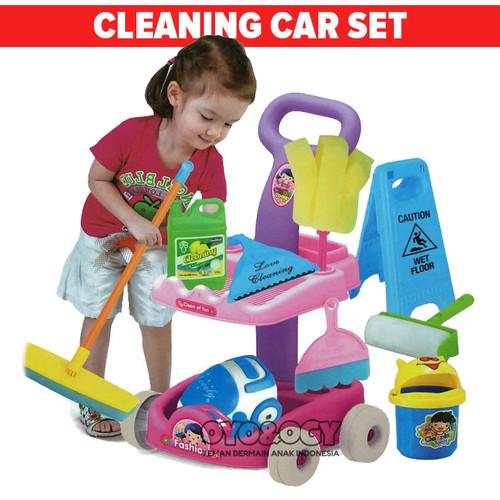 Foto Produk Mainan Anak Cleaning Car Set Kereta Trolley Alat Kebersihan Sapu Pel dari oyo-ogy
