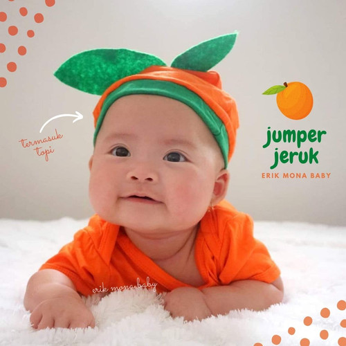 Foto Produk jumper bayi jeruk / orange baby romper - S dari ermon baby and kids