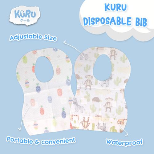 Foto Produk KURU Disposable Bib - Celemek Anak Bayi Sekali Pakai Baby Bibs Apron - Animal dari bobo baby shop