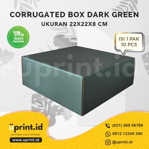 Foto Produk CORRUGATED BOX POLOS |DUS KUE/HAMPERS |22x22x8|READY STOCK|DARK GREEN dari Uprint.id