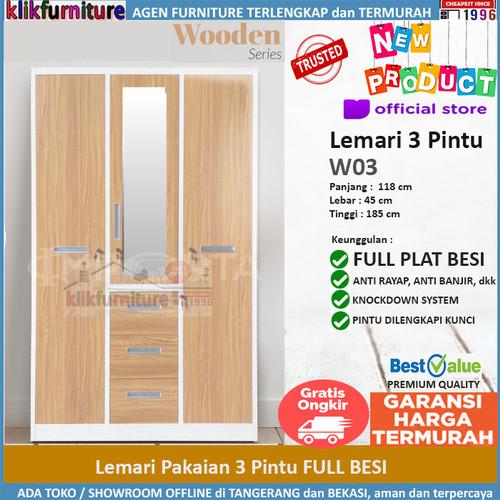 Foto Produk Lemari Pakaian 3 Pintu Bahan Full Besi W03 dari klikfurniture