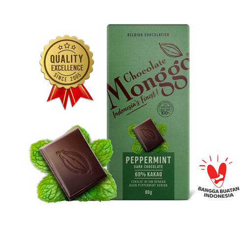 Foto Produk Peppermint & Dark Cokelat   Chocolate Monggo 80g  Coklat Hitam & Mint - Peppermint dari Chocolate Monggo Jakarta