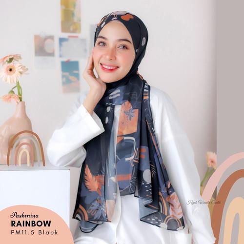 Foto Produk Hijabwanitacantik - Pashmina Rainbow Series Hijab printing premium bah - Black dari Hijab Wanita Cantik