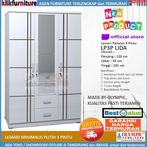 Foto Produk Lemari Pakaian 3 Pintu Minimalis Putih LP3P LIDA Olympic dari klikfurniture