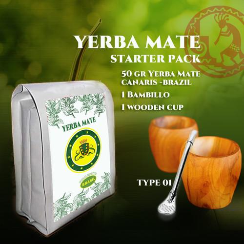 Foto Produk Yerba Mate Starter Pack 2 - Paket Teh Yerba Mate Wooden Gourd Bombilla dari Harlequin Herb