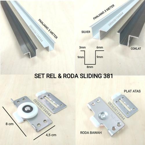 Foto Produk Set Rel PLUS Roda 381 Pintu Sliding / Geser Lemari 1,5 MTR - RODA PUTIH, REL COKLAT dari Toko Income