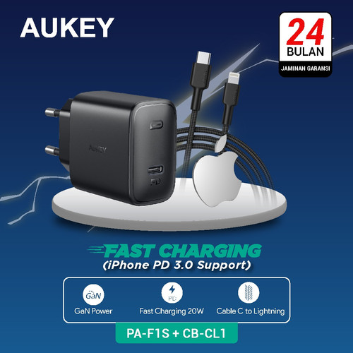 Foto Produk Aukey Charger PA-F1S + Aukey Cable CB-CL1 Black dari Aukey Makassar