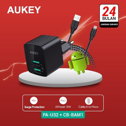 Foto Produk Aukey Charger PA-U32 500284 + Aukey Cable CB-BAM1 Black 500424 dari Aukey Makassar