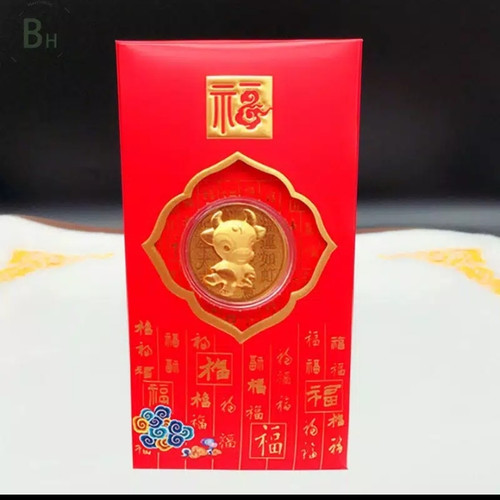 Foto Produk angpao emas shio kerbau 24k / angpao kerbau 24k / angpao emas 24 karat dari sayakashop