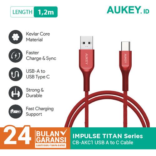 Foto Produk Aukey Cable CB-AKC1 USB A To USB C QC 2.0 Kevlar 1.2M Red - 500447 dari AUKEY
