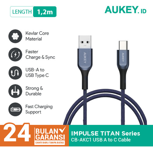 Foto Produk Aukey Cable USB A To USB C QC 2.0 Kevlar Cable 1.2M Blue - 500413 dari AUKEY