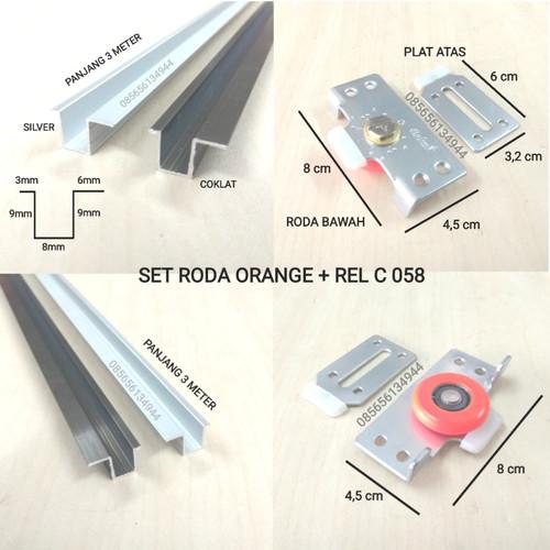 Foto Produk Set Rel PLUS Roda 381 Pintu Sliding / Geser Lemari 1,5 MTR - RODA ORANGE, REL SILVER dari Toko Income