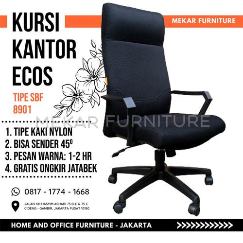 Foto Produk Kursi Kantor Kursi Kerja ECOS SBF 8901 - Mekar Furniture - Hitam kain dari Mekar Furniture