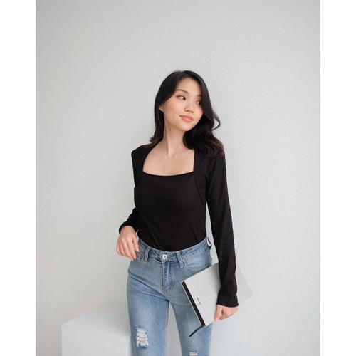 Foto Produk Top Wanita Lengan Panjang Premium Leher Square - Alena Square Neck Top - Black, S dari Lexyno_id