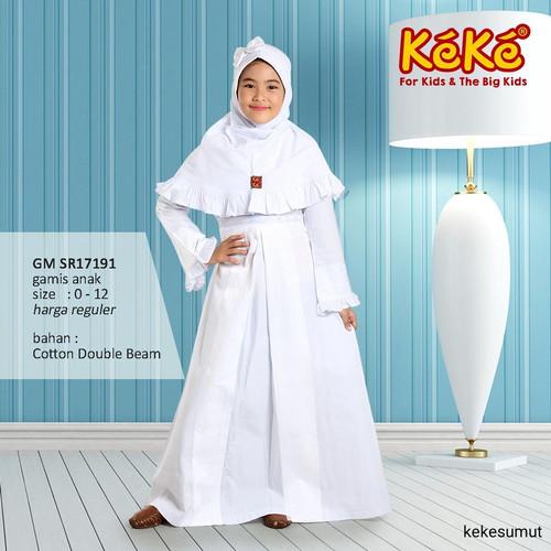 Foto Produk Kekesumut Baju Gamis Anak perempuan Katun PUTIH GM SR18191 muslim - size 2 dari kekesumut