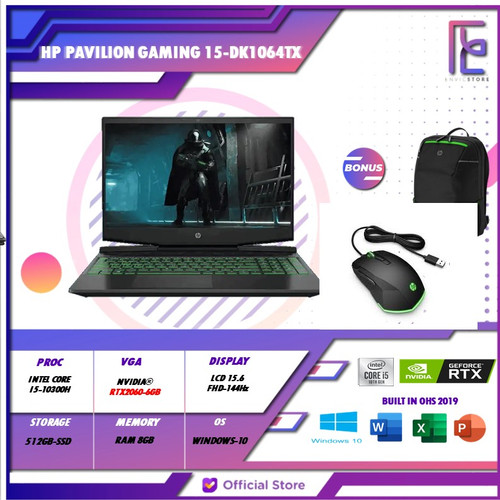 Foto Produk HP Pavilion Gaming 15-dk1064TX i5 10300H 8GB 512GB RTX2060 6GB 144Hz dari EnVicStore