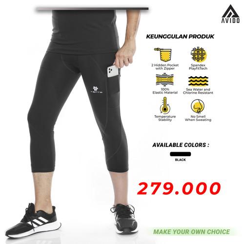Foto Produk Tiento Baselayer Legging Sport Pria Celana Lari Pria 3/4 Pants Pocket - Hitam, XL dari Avido Store