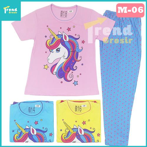 Foto Produk Setelan Anak Perempuan UNICORN / 7-10 tahun / Baju Tidur Anak Perempua - 12-13 Tahun, M-06 Pink dari trend grosir