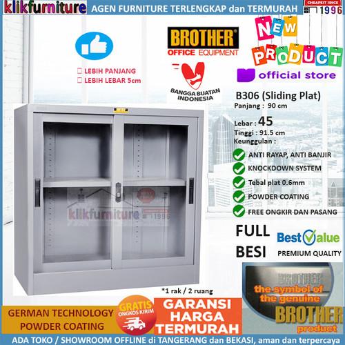 Foto Produk Lemari Arsip Filing Cabinet Besi Pendek 2 Pintu Sliding B 306 Brother dari klikfurniture