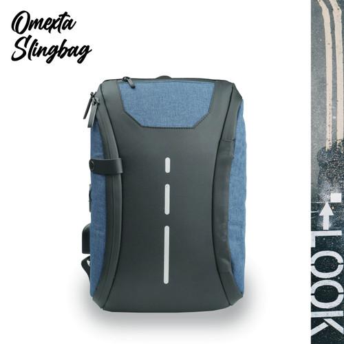 Foto Produk BEST PRICE Tas Selempang Omexta Waterproof Sling Bag USB & Earphone - Biru dari Trendy Olshop