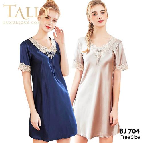 Foto Produk TALLY Bj 704 Baju Tidur Satin Renda Daster satin fit to XL - Biru dongker dari Tally Official Store