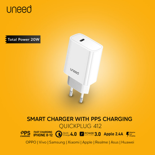 Foto Produk UNEED Quick Charger 20W iPhone 12 QC 3.0 4.0 PD 3.0 AFC PPS - UCH412 dari Uneed Indonesia