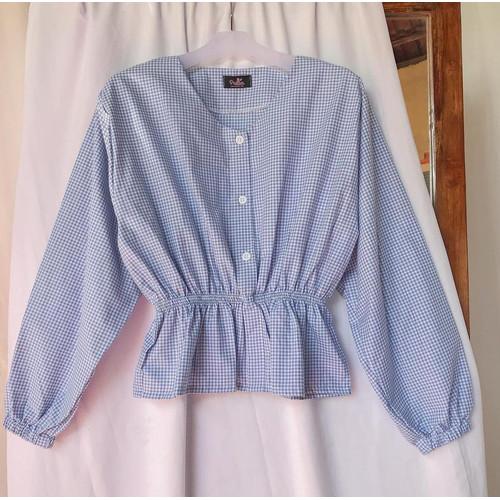 Foto Produk Baju Atasan Wanita | Belina Blouse | Katun Motif - Navy dari Terminalgrosir Indonesia