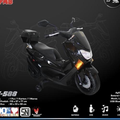 Foto Produk KHUSUS GOJEK mainan anak motor aki nmax PMB M588 M-588 M 588 RAID - Hitam dari Lautan Sepeda